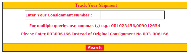 Tracking page of Golden India Transport